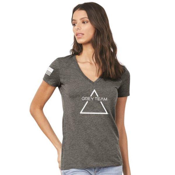 Female Logo V Neck T Shirt Person